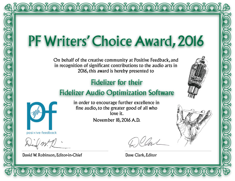 Positive Feedback Writers' Choice Award 2016 for Fidelizer